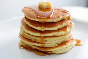 A breakfast setting of delicious pancakes in the morning
