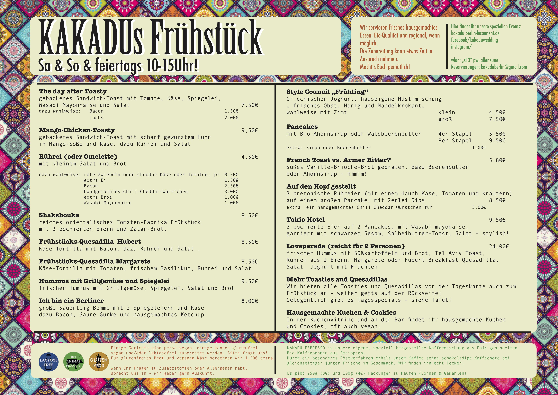 Karte Essen.Essen Food Unsere Neue Karte Kakadu Berlin